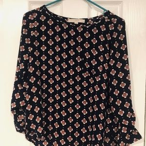 LOFT Navy and Pink Patterned Blouse (petite)